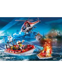 70335 Brandweermissie met helikopter en boot